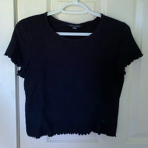 American Eagle Cropped Baby Lettuce Cut Tee